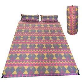 大營家購物網~7619波西米亞雙人自動充氣墊6CM+附2個自動充氣枕頭