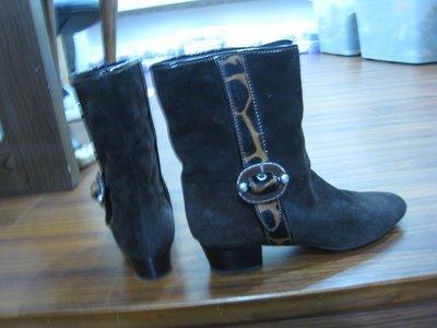 義大利品牌   Zamagni  深咖啡  馬毛邊飾短靴-37