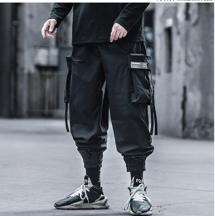 FINDSENSE X 男士  直筒 休閑 束腳工裝褲男寬松大碼機能傘兵潮流休閑褲