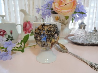 紫丁香歐陸古物雜貨♥法國 vintage之 Veritable利摩日Limoges歐洲鄉村農家生活人物陶瓷蛋杯一個