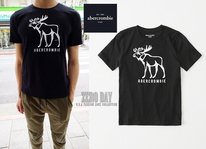 零時差美國時尚網a&f真品abercrombie&fitch boy logo graphic tee麋鹿短袖T-黑色
