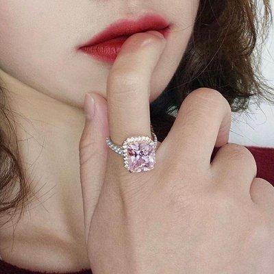 粉鑽彩色戒鴿子蛋10克拉鑽石鑽戒指高檔豪華珠寶純銀微鑲925銀厚鍍鉑金女款戒指 歐美明星同款仿真鑽石特價優惠 莫桑鑽寶
