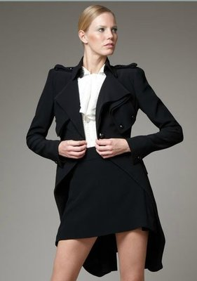 J&S 精品小舖 Alexander McQueen Crepe frock coat 皺折雙排釦外套 IT 38 黑 現貨