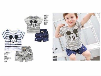 ♥【BS5048】韓版男童裝米奇虛線條紋船錨短褲套裝 2色 (現貨) ♥
