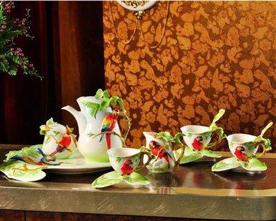 5Cgo【鴿樓】會員有優惠 9613316102 琺琅瓷 歐式 咖啡杯套裝 時尚禮品 情侶套裝杯具 鍾愛鹦鹉
