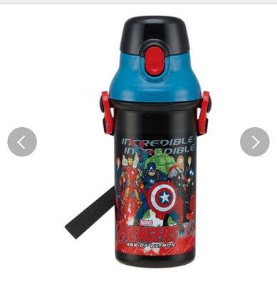 (現貨)日本製 約480ml 約21cm高 樽身耐熱120度 按掣彈蓋 直飲式 水壺連咩帶 Marvel 超級英雄傳 蜘蛛俠 日本直送 全新品