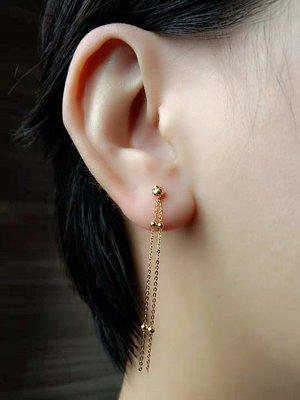 看山美物·玉器 AU750 18K黃金 玫瑰金 滿天星流蘇耳線 耳墜  1只價格