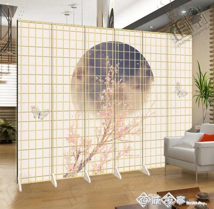 日式屏風櫻花仿木紋格時尚客廳餐烤料理拍照攝影折疊美容隔斷布藝QM