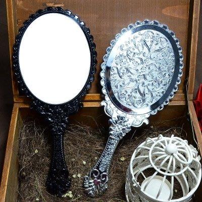 正韓進口手柄公主鏡折疊鏡子 簡約便攜美容補妝化妝鏡 高清大小號