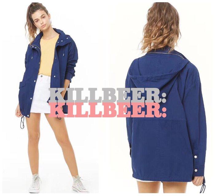 KillBeer:OUTLET代購✈✈美國品牌Forever 21新款海軍藍搖滾拉鍊防風材質縮腰風衣連帽外套061421