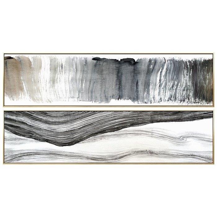 文藝 家飾 掛畫 裝飾畫 背景墻 簡約 黑白抽象掛畫新中式臥室床頭裝飾畫現代水墨意境酒店墻面背景墻畫 米斯特芳