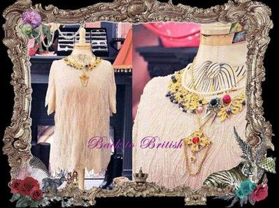 轉賣))[BACK TO BRITISH] 頂級加工系列改造珠寶古董衣超級稀有淺色米色 洋裝b2b 崔咪