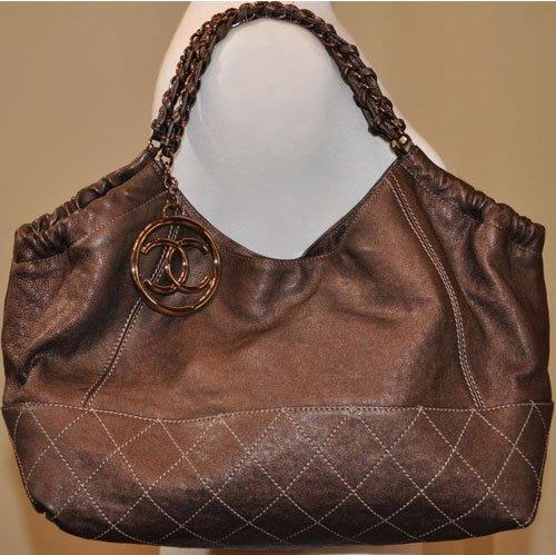 真品/正品 CHANEL COCO CABAS 古銅金咖啡色/玫瑰金吊飾鍊帶/荔枝皮菱格紋化妝包/肩背包/側背包