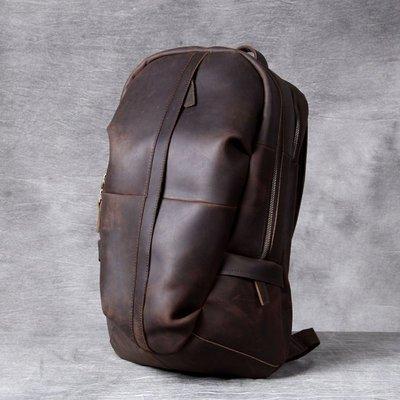 後背包真皮雙肩包-休閒大容量瘋馬牛皮男女包包2色73vz14[獨家進口][米蘭精品]
