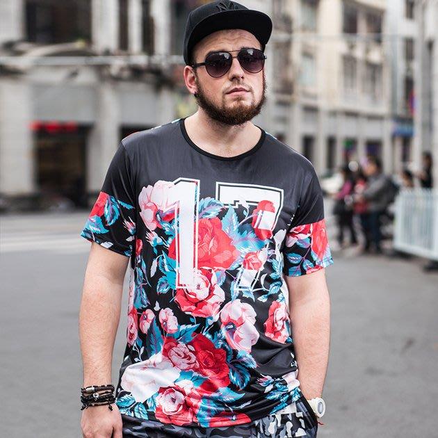 FINDSENSE品牌監製 大尺碼男裝 超肥特大號加肥加大薄款個性印花短袖夏季男大尺碼寬鬆透氣T恤速乾排汗T