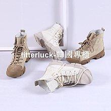 litterluck-韓國專櫃壹青年2019新款馬丁靴女英倫風學生百搭厚底真皮機車靴子秋冬短靴