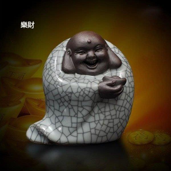 5Cgo【茗道】含稅會員有優惠 37529739912 藝韻哥窯茶寵開片可養哥窯茶具擺件精品手工雕塑彌勒擺飾小沙彌大耳朵