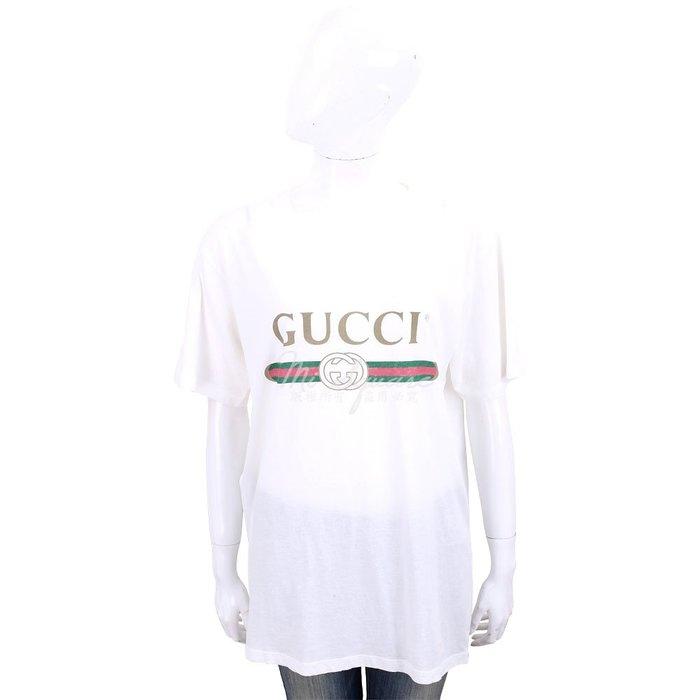 米蘭廣場  GUCCI Oversize 復古標誌圖印白色棉質短T恤 1840411-20