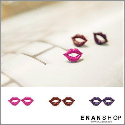惡南宅急店【0156D】韓國飾品熱賣 紅唇KISS設計耳環 (一對價)