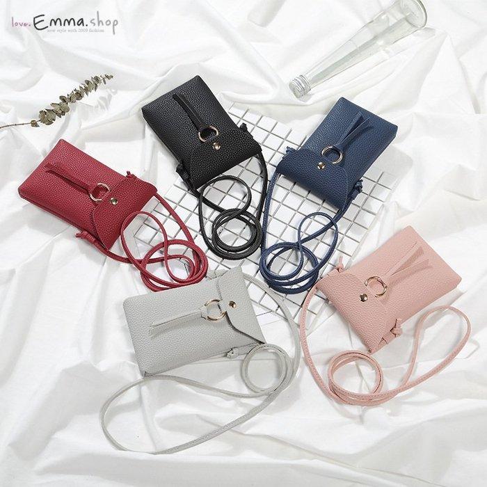 EmmaShop艾購物-正韓迷你長型手機包可提可斜背/仿羊皮革迷你托特包