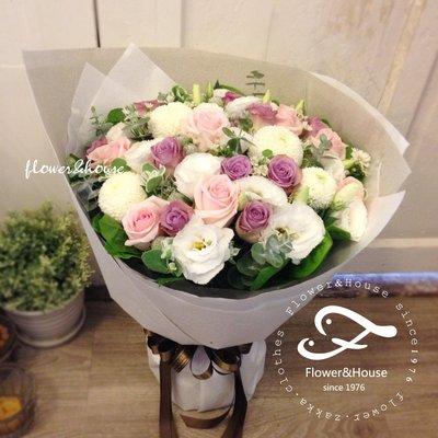 A66。期間限定。粉紫玫瑰花束。粉色桔梗花。歡迎自取【Flower&House花藝之家】