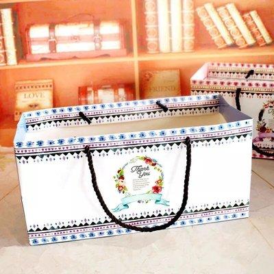 (藍)漾彩花環手提袋 長方形 瑞士捲 蛋糕卷 包裝盒 杯子蛋糕 曲奇餅乾 烘焙包裝 彌月禮盒 磅蛋糕 水果條 蜂蜜蛋糕