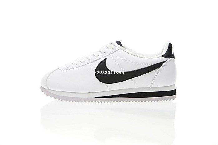 """Nike Classic Cortez Leather 阿甘 復古 皮革 慢跑鞋""""白黑""""807471-101 男女鞋"""
