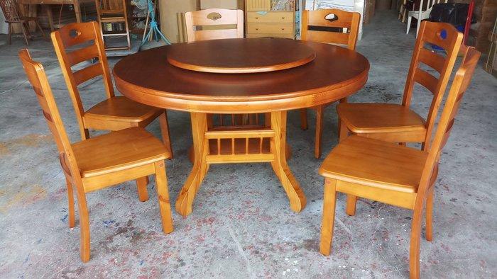 美生活館 鄉村 4.2 尺 圓餐桌椅 ( 附轉盤) 組 可拆買 另有 4.5 尺桌可購 餐廳 廚房 -- 也可客訂白色款