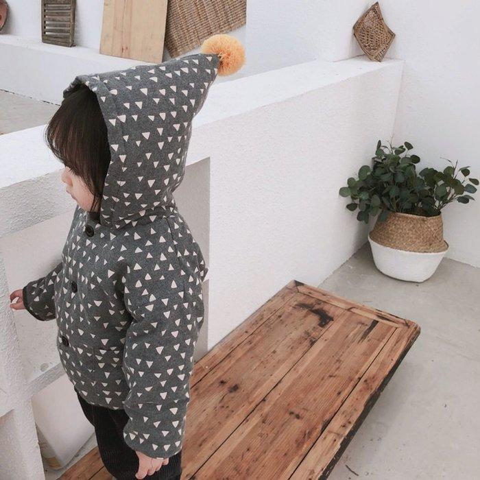 【小阿霏】兒童精靈帽外套 男童女童小三角印花棉服外套 冬天必備CL97