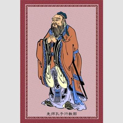 佛教掛畫 開光轉運孔子畫像掛畫供奉教室貼畫孔夫子像掛圖先師孔子行教圖儒家文化畫