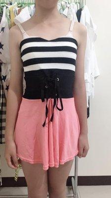 平口橫條紋綁繩短洋裝 #派對 #夜店 #平口 #洋裝