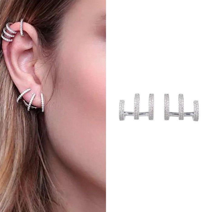 💎1436、(預購)知性優雅三環微鑲淑女耳環💎正韓飾品 耳環 珠寶 925純銀針
