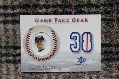 Curt Schilling 2003 UD Game Face 超厚一張球皮+雙色條紋背號球衣卡 no簽名