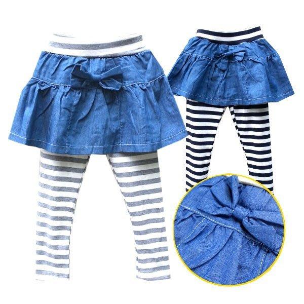 【班比納精品童裝】彈力牛仔條紋拼接裙褲-灰/海軍藍  兩色可選