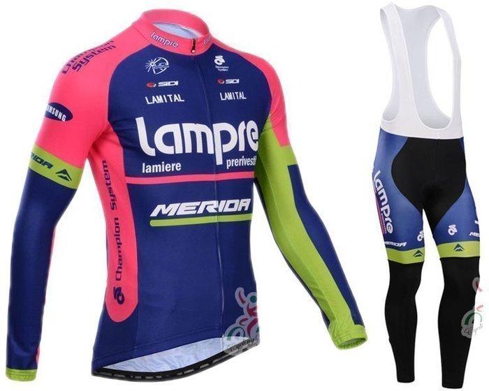 【綠色運動】2014款藍波lampre 自行車衣長袖款 騎行服 單車服 自行車服 吊帶腳踏車服 車衣車褲背帶長套裝