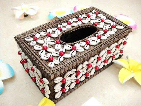 Y【永晴峇里島】巴里島貝殼藤編方形面紙盒,增添異國風味,居家,民宿,飯店都好用-面紙盒2