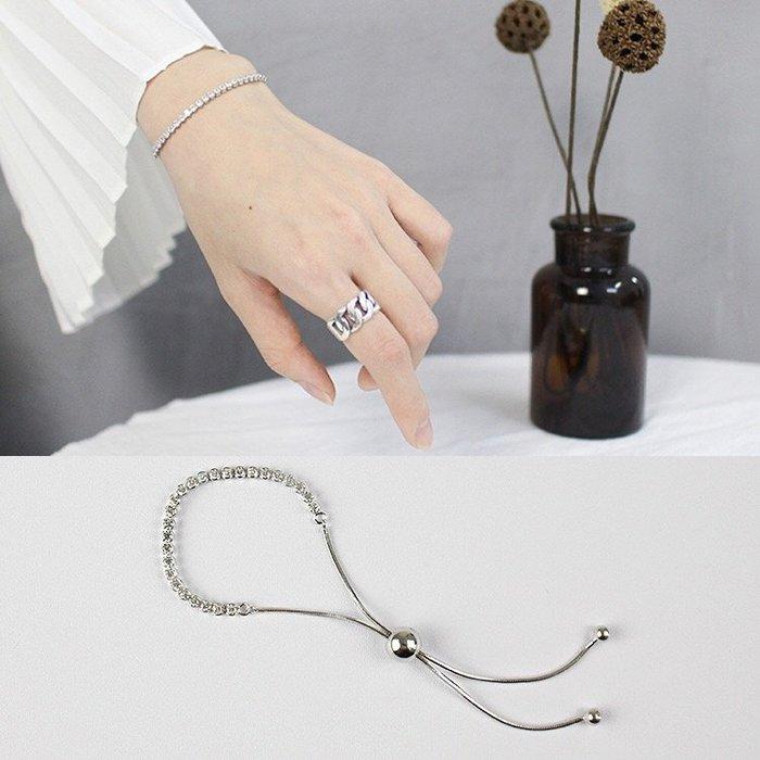 《現貨》純銀手鍊 國際925純銀 創意個性手工蛇骨鋯石手鍊 調節珠手鍊 生日 情人節 聖誕節 Baonizi