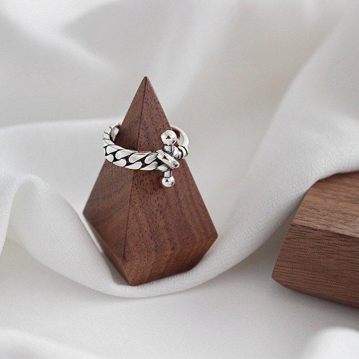 《現貨》925純銀 十字架復古開口戒 戒指 生日情人禮 母親節禮物 附禮盒 銀布 Baonizi
