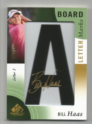 【MBC】Bill Haas 2013 SP GAME USED LETTER MARKS 限量簽名卡 05/35