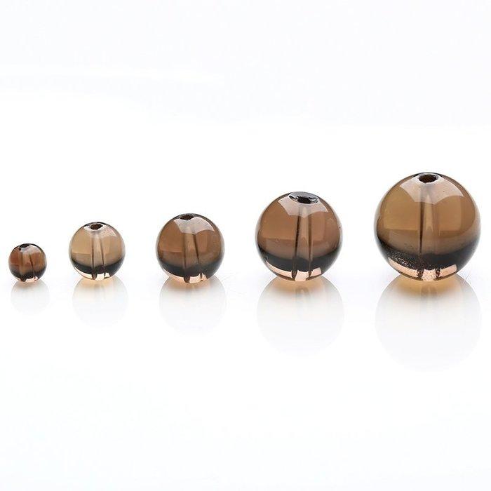 【福寶堂】正品天然水晶珠子批發 DIY手工飾品半成品散珠4-12mm茶晶串珠材料(一組50顆)