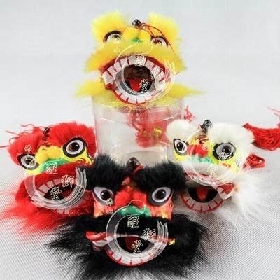 【定制吊獅-約高7*直徑7cm-1款/組】舞獅掛件中國風佛山小醒獅頭手工藝品醒獅飾品-3001002