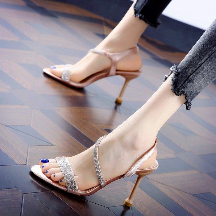 Fashion*韓版水鑽細跟宴會鞋 拼色露趾魚嘴時尚涼鞋 顯瘦高跟涼鞋/2色 黑色*香檳色