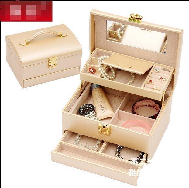 【格倫雅】^首飾盒歐式首飾收納箱帶鎖公主飾品收納盒化妝盒化妝箱結婚生日禮51717[D