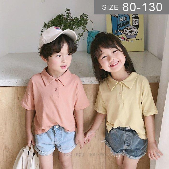 韓版男女童短袖T恤。ROUROU童裝。夏男女童中小童純色百搭Polo衫T恤 0321-419
