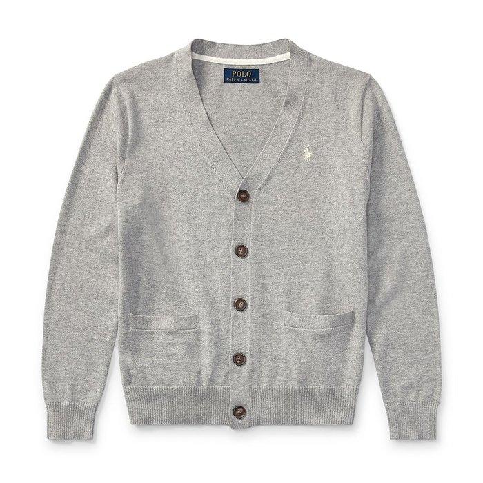 美國百分百【Ralph Lauren】針織衫 罩衫 RL 男款 學院風 開釦外套 POLO 淺灰 XS號 I772