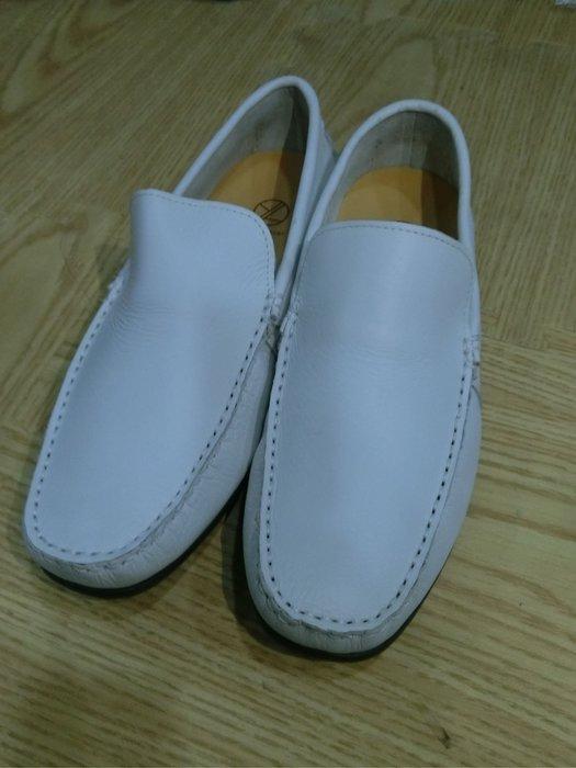 【Luxury】零碼特價 獨家訂製 全牛皮 男生手工鞋 白色 豆豆鞋樂福鞋氣墊鞋墊 止滑底 超級好穿 透氣
