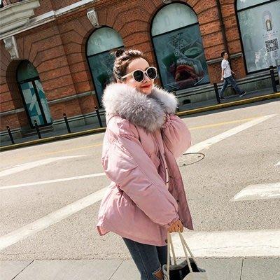 羽絨外套 連帽夾克-蓬鬆大毛領收腰短款女外套6色73pa27[獨家進口][米蘭精品]