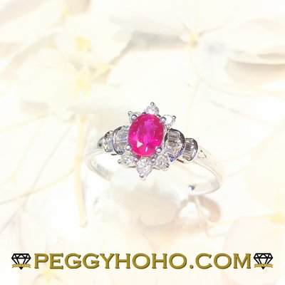 【Peggyhoho】全新18K白金50份紅寶石配24份真鑽石戒指 | RUBY 靚色紅寶石 | HK17.5 大尺寸