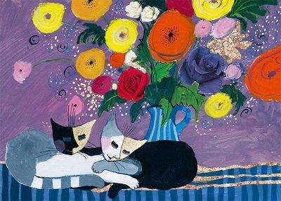 歐洲進口拼圖 HEYE 花 睡得香甜的貓 Wachtmeister 1000片拼圖 29818
