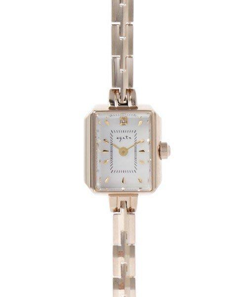 【日本代購】小店主的購物小店:agete 手錶 スクエアフェイスジュエリーウォッチ 【AGETE15YG2時計】